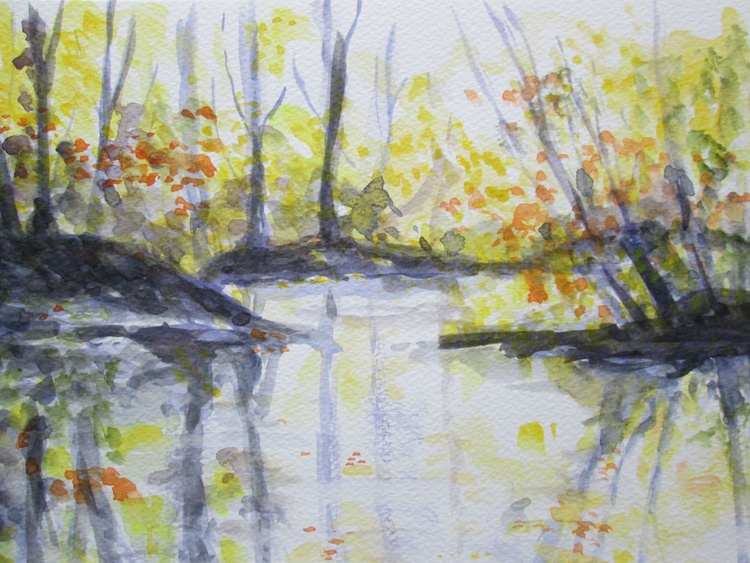 """WOOD REFLECTIONS"", Trees in water reflected, Original Watercolour - Image 0"