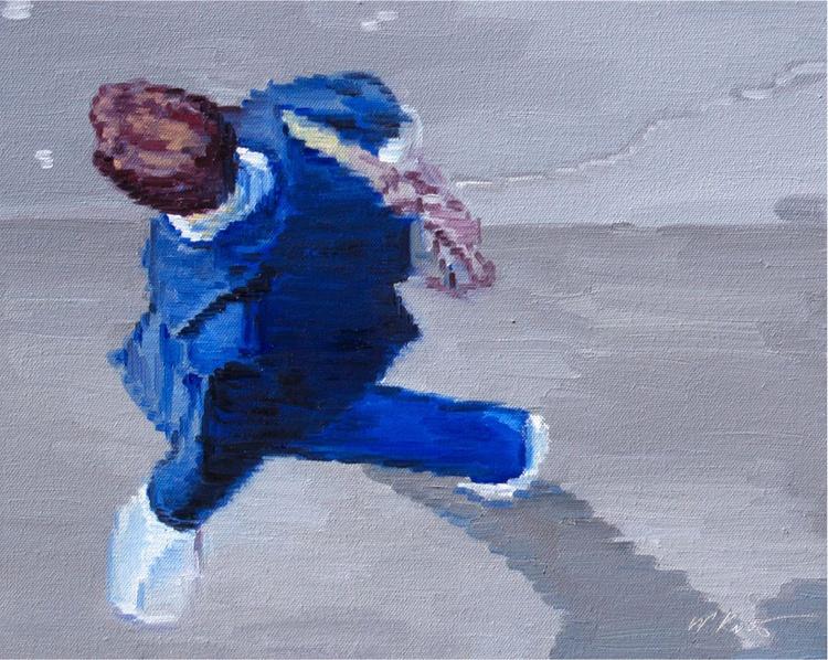 Man in Blue Walking in Paris Number One - Image 0