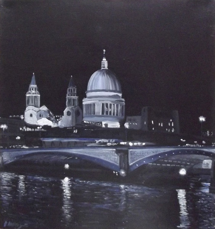 London at night, St.pauls from the Thames - Image 0