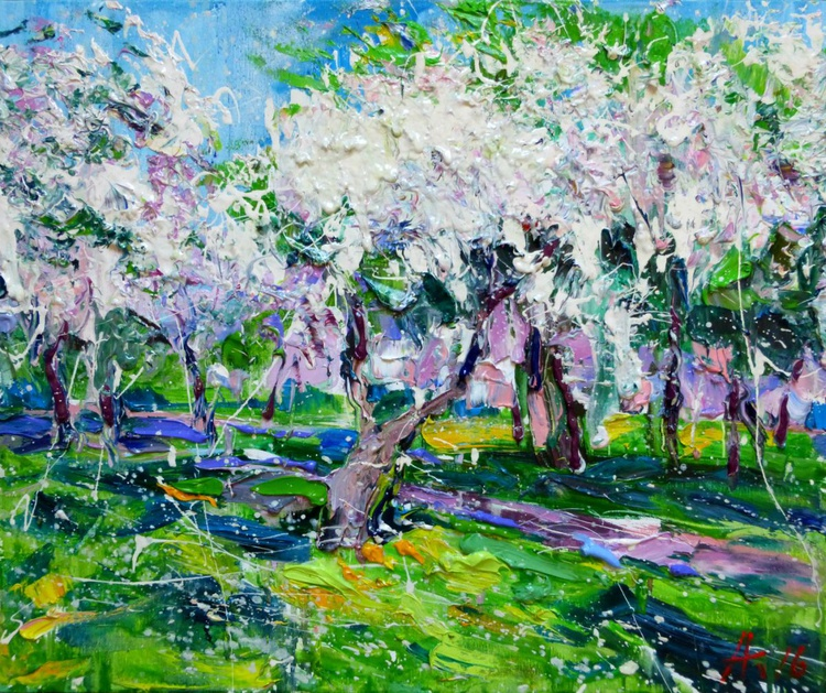 trees in bloom, oil painting 60x50 cm - Image 0