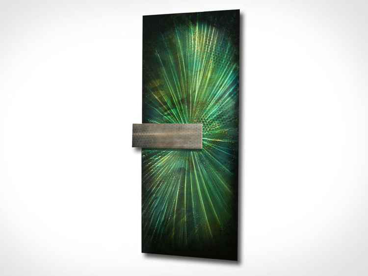 'Bursting Forest' - Green Starburst Painting Teal Modern Art Abstract Sunburst Metal Wall Sculpture -