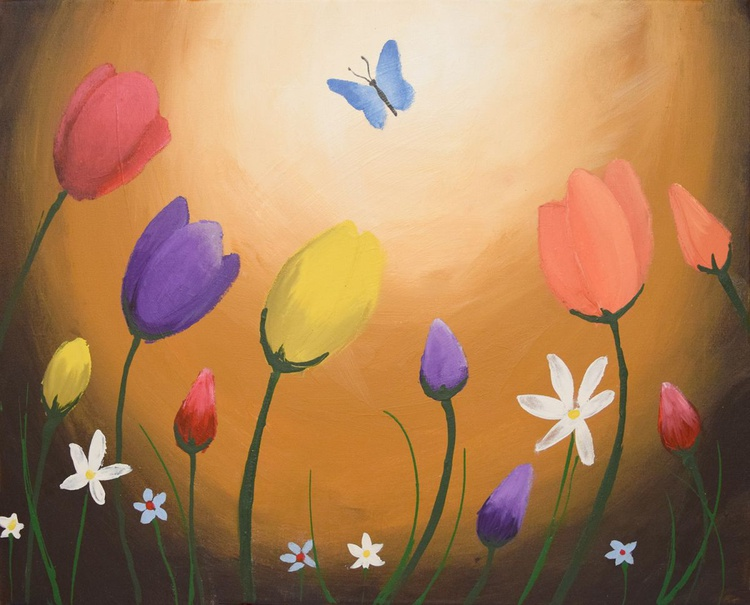 original painting on canvas hand made flowers english countryside abstract landscape butterfly floral flower artwork painting art canvas - 16 x 20 inches box canvas - Image 0
