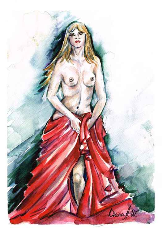 Female Nude with red Blanket
