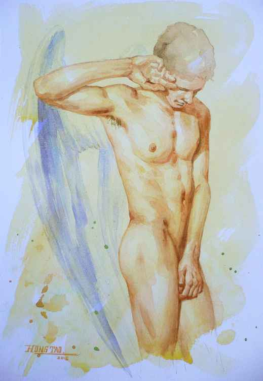 original art watercolour painting angel of  male nude on paper #16-5-3-02