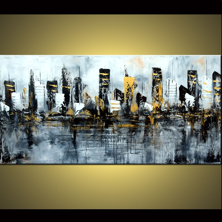 Golden City - Large 48x24 Abstract Painting, Black and White painting,original silver and gold cityscape, ready to hang - Image 0