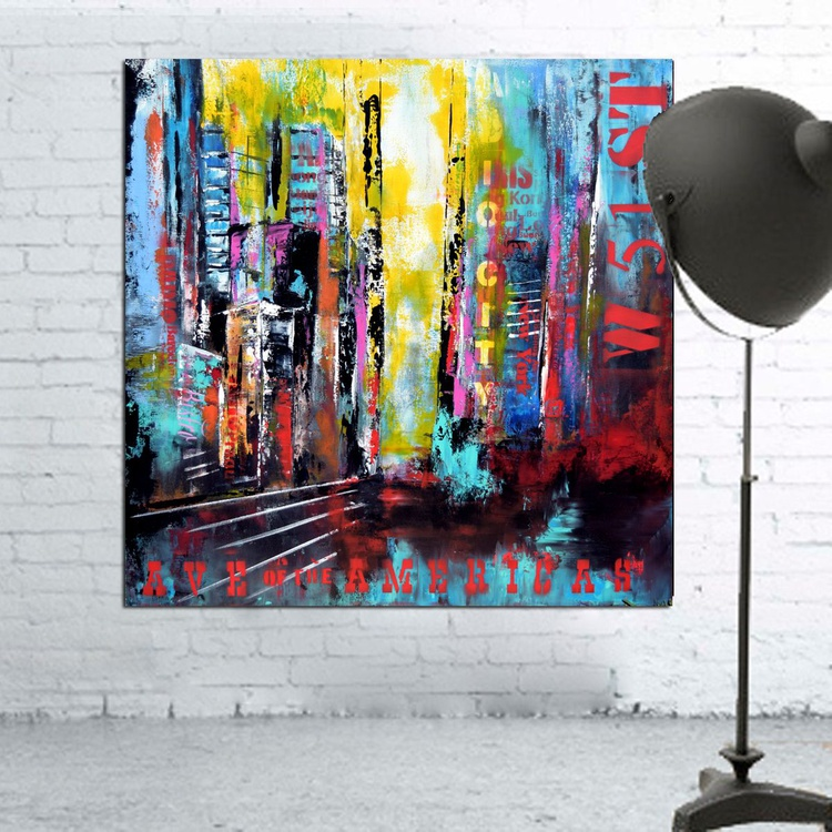 Radio City Large abstract Handmade Painting, Urban Modern Canvas Wall Art Blue, Red, Yellow - Image 0