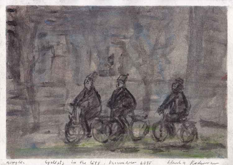 Cyclists in the City, December 2015, acrylic on paper, 21,1 x 29,6 cm