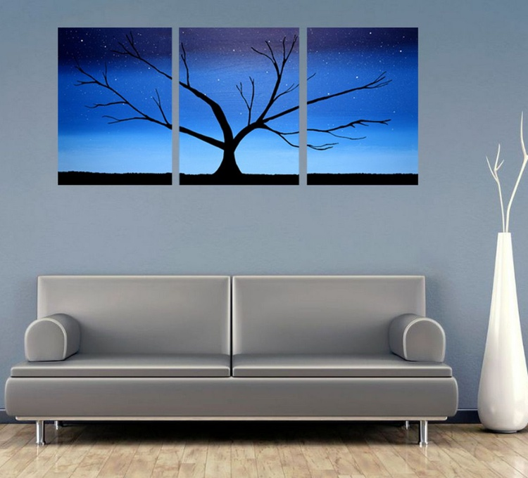 "triptych 3 panel wall art color rainbow images ""Tree in Blue"" 3 panel canvas wall abstract canvas pop abstraction 48 x 20 "" other sizes available - Image 0"