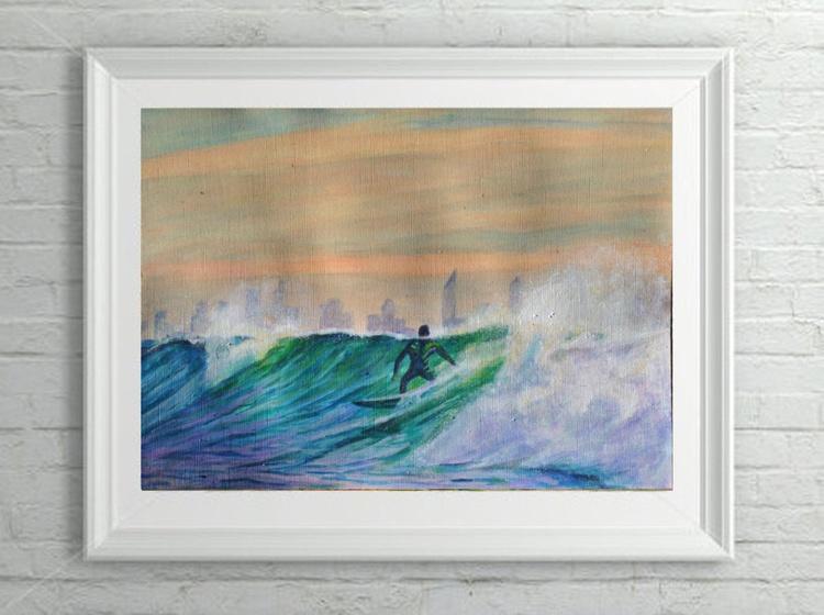 "Orignal Seascape Surf Wave Painting - ""Skyline"" Acrylic on Canvas Paper - Image 0"