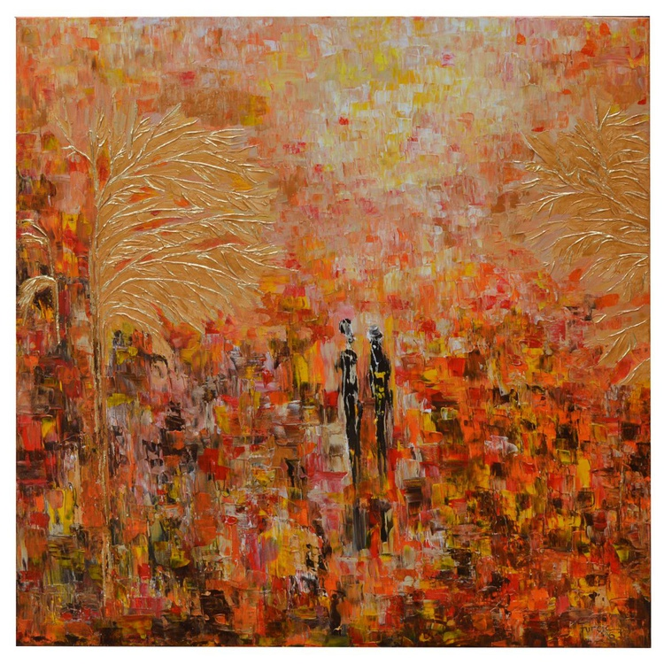 """My Tree With Golden Flowers - Original Abstract Autumn Landscape Acrylic Painting 32 x 32 """" - Image 0"""