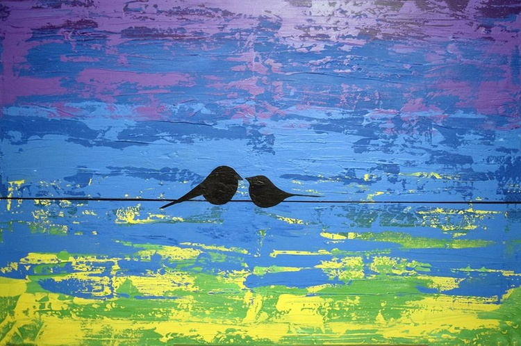 """Birds of Colour large wall art bird painting landscape garden, tree of life 24 x 30 """"also @ 36 x 24"""" - Image 0"""