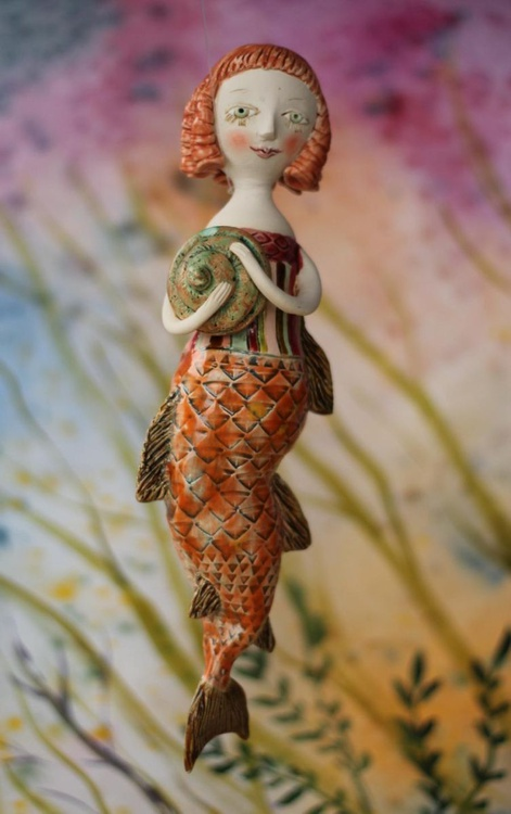 """Little Redhead Mermaid, hanging sculpture from the """"Underwater baroque"""" project - Image 0"""