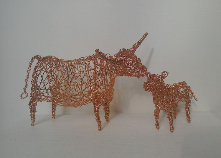 """""""Mother & Child"""" - Copper Cow & Calf - Image 0"""