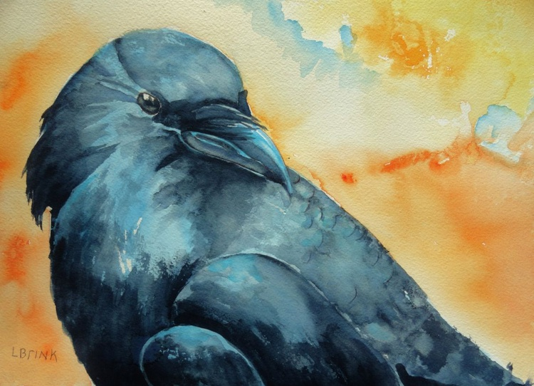 Crow watercolor - Image 0