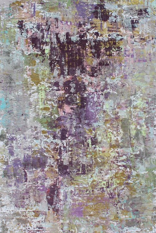 """Calm Emotions, Abstract Purple, White, Gold, Silver, Large Original Textured Art 48 x 30"""" by Irena Orlov - Image 0"""