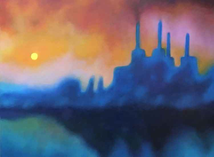 Battersea Powerstation mist sunrise -