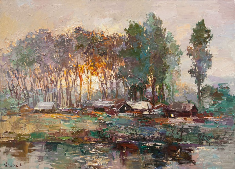 Oil painting Rural landscape at sunrise - Image 0