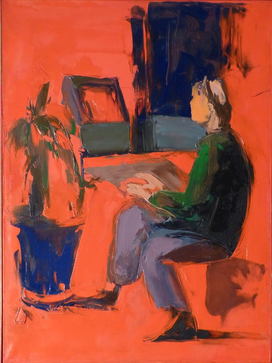Red Computer Room, oil on canvas 54x73 cm - Image 0