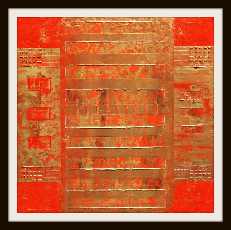 Red Gold Asian Abstract - Image 0