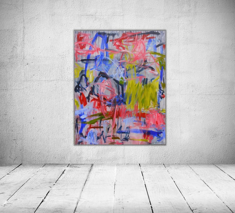 Tune of Spring #2   large abstract   100 x 80 cm   grey pink green blue red - Image 0