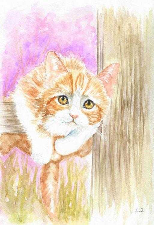 Original watercolour painting Kitten - Image 0