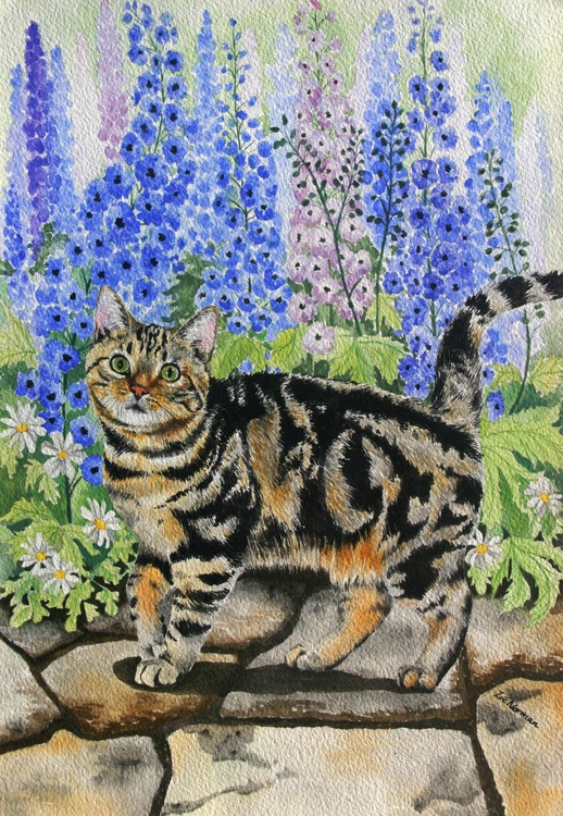 Tabby Cat and Delphiniums - Image 0