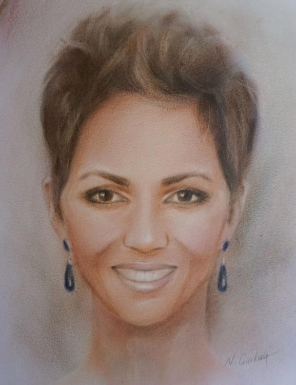 Halle Berry portrait - original painting, dry bruch technique - Image 0
