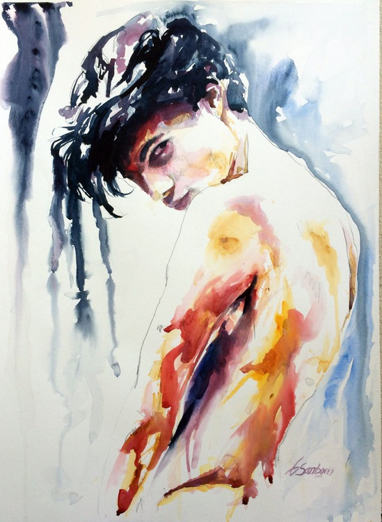 """Fearless - Male Figure 22x30"""" Watercolor - Image 0"""