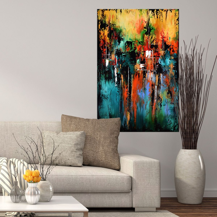Autumn Escape- Abstract expressionist painting, 24x36 abstract contemporary painting Green ,Reds, Oranges, Gold, Palette Knife - Image 0
