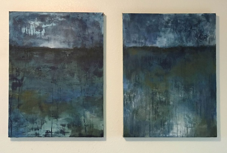 """BLUE REFLECTION - diptych - 36"""" x 24"""" x 1.5"""" - ready to hang - Image 0"""
