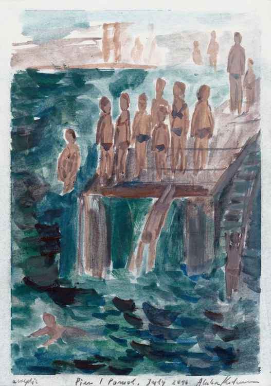 Pier / Pomol, July 2016, acrylic on paper, 28,6 x 20,2 cm -