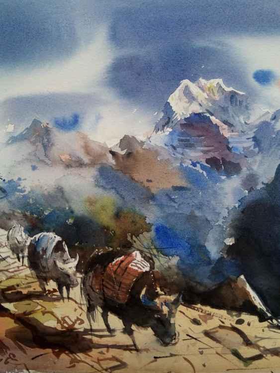 yaks and mountain