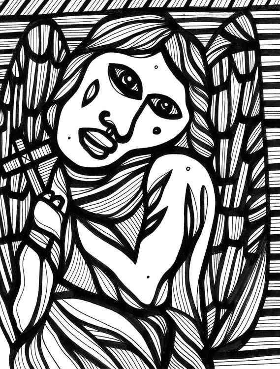 Voluble Angel Figure Framed Original Drawing -