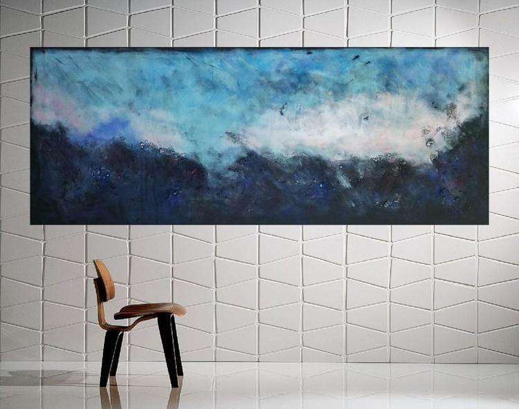 "59x 23,5""( 150x60cm), Patmos Island Landscape,  blue painting , canvas art, home painting - Image 0"
