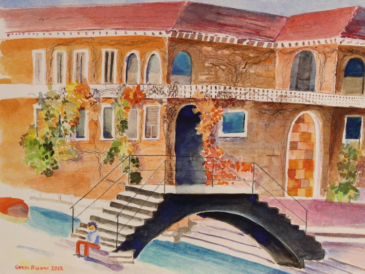House in Venice a watercolor painting - Image 0