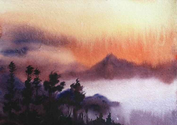 Cloudy Golden Sunrise - Watercolor Painting