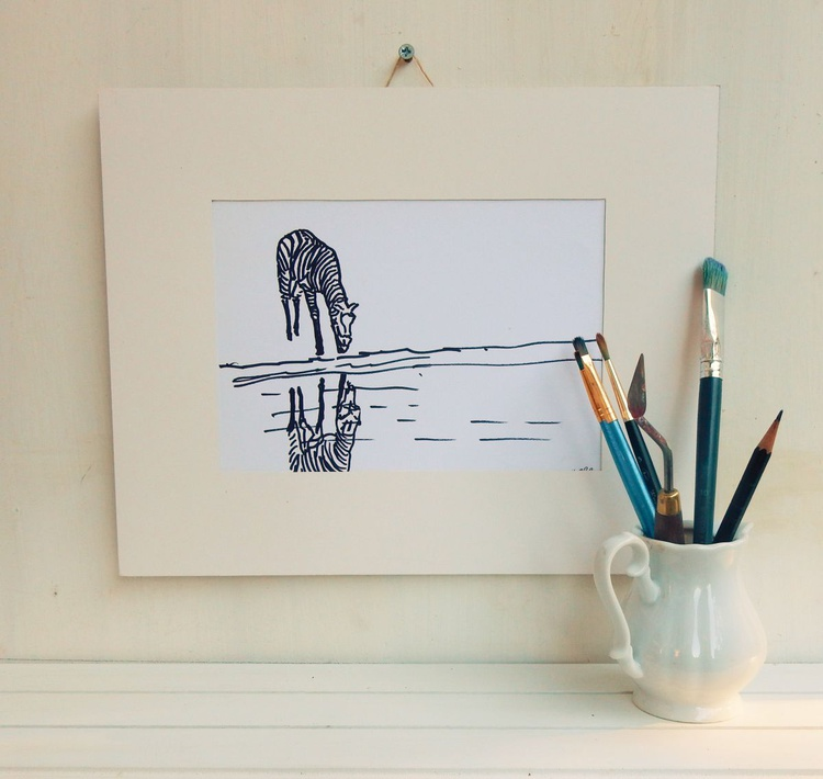 Lonely Zebra. Silhouette. Black and White drawing. - Image 0