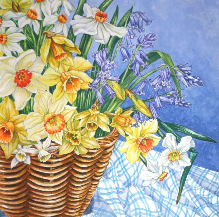 Basket of Spring Flowers