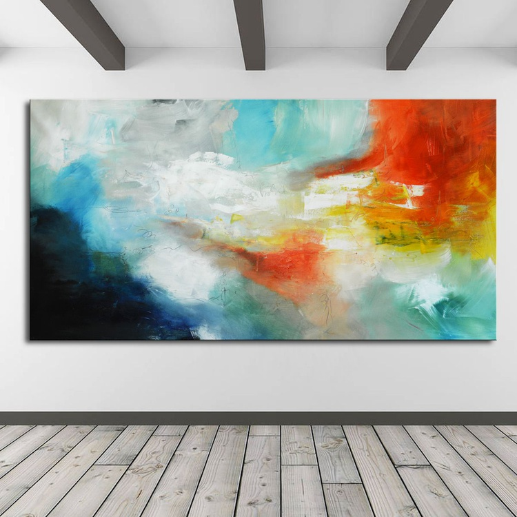 Not afraid to explore - Large Original Abstract Landscape Painting with blue and red - Image 0