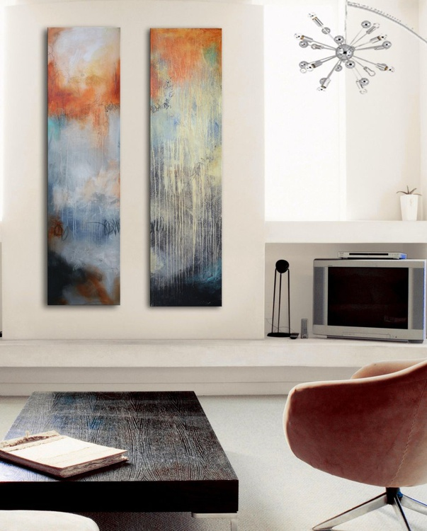 """Raining in March - Abstract Painting 60""""x30"""", Grey and orange art - Image 0"""