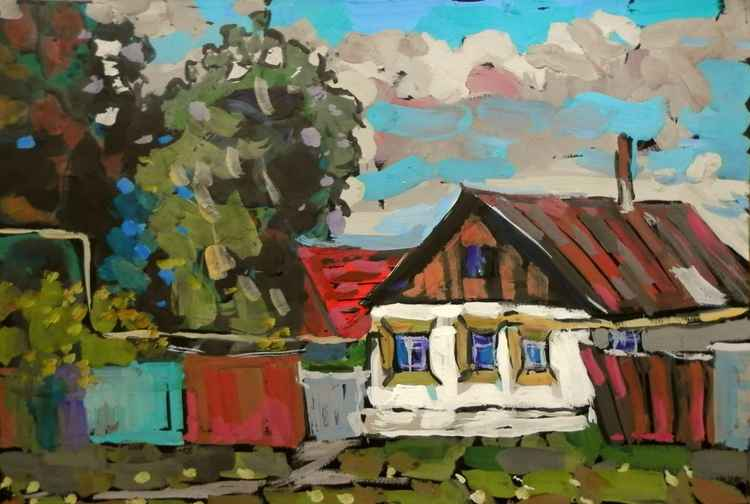 Summer day, original gouache painting 60x40 cm -