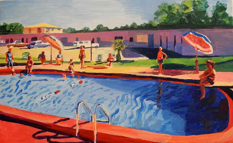 pool scene in red