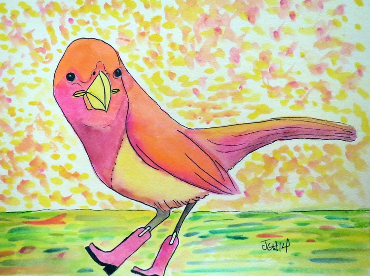 Bird in Boots watercolor - Image 0