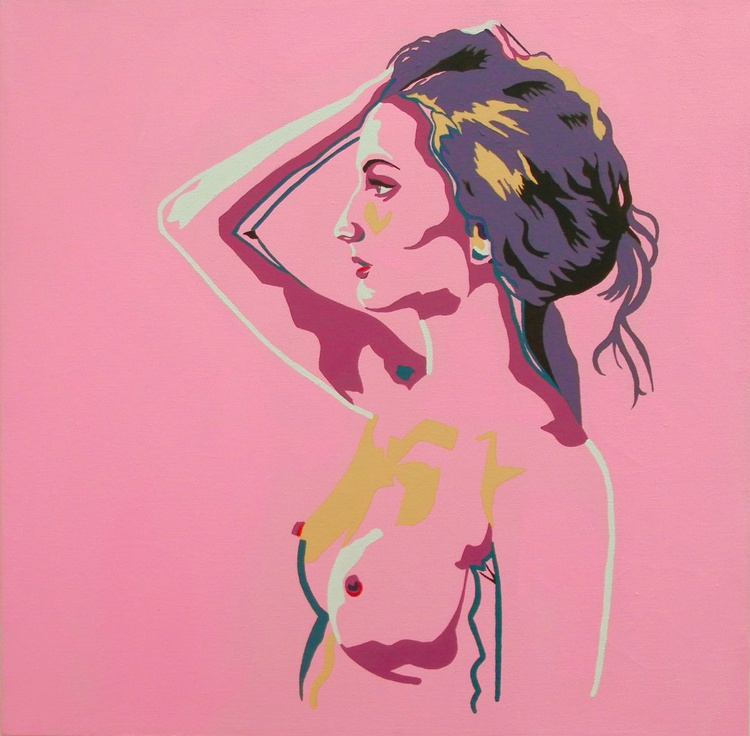 Female Nude Original Acrylic Painting Standing Nude In Bubble Gum Pink - Image 0