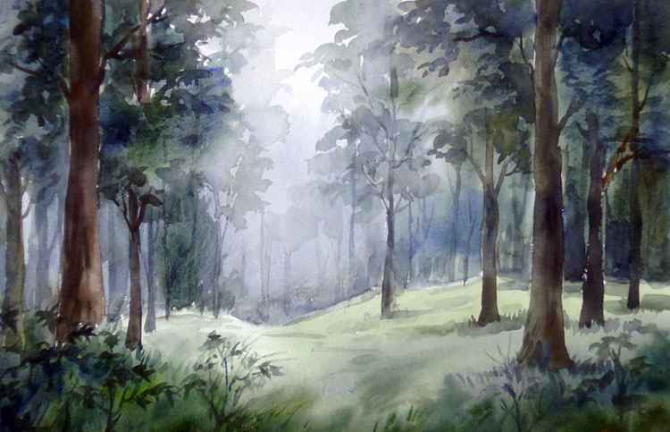 Mysterious Mountain Dense Forest - Watercolor on paper -