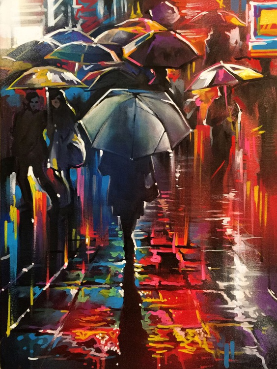 'Streets Of Colours' - small study painting - Image 0