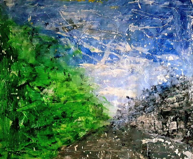 Senza Titolo 194 - abstract landscape - 93 x 76 x 2,50 cm - ready to hang - acrylic painting on stretched canvas - Image 0