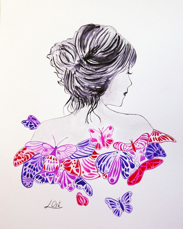 Lady and butterflies - Image 0