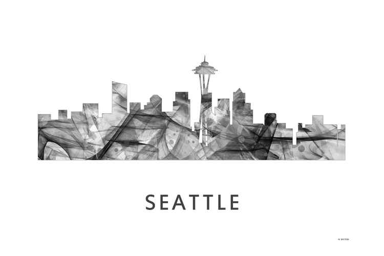 Seattle Washington Skyline WB BW -