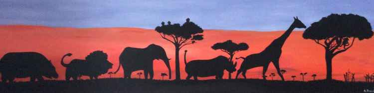 Long Painting African Animals -